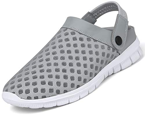 Herren Damen Garten-Clogs Sommer-Mesh-Pantoffeln Strand Atmungsaktive, Leichte Schuhe Slip on Yard Sandalen Grau 47 EU