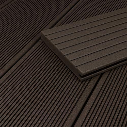 HORI® WPC-Terrassendiele Anthrazit Massivdiele I Komplettset inkl. 45x45 mm Unterkonstruktion & Clips I Fläche: 1 Muster I Muster Dielenlänge