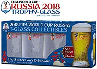 Set of 4 Russia 2018 Logos FIFA World Cup Trophy-glass Gift-Box -The Soccer Fan 's Drinkware 3x4
