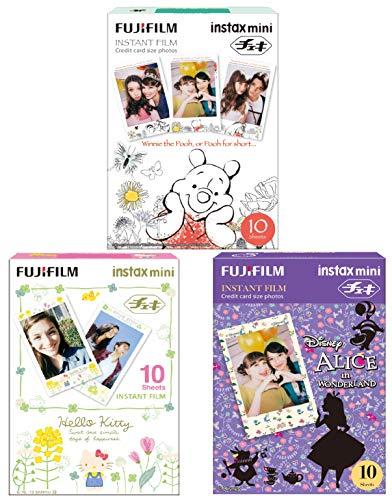 Fujifilm Instax Mini Film Set, Alice in Wonderland und Hello Kitty und Winnie The Pooh, 3X 10 Blatt (30 Blatt)