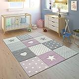 Paco Home Kinderteppich Kinderzimmer Punkte Herzen Sterne Pastell versch. Farben u. Größen, Grösse:120x170 cm, Farbe:Lila