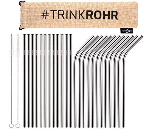 TRINK ROHR Premium Edelstahl-Strohhalme 26er Set, Metall Trinkhalme, 2 Reinigungsbürsten, Wiederverwendbar Plastikfrei Verpackt, Ideal für Smoothie, Cocktail