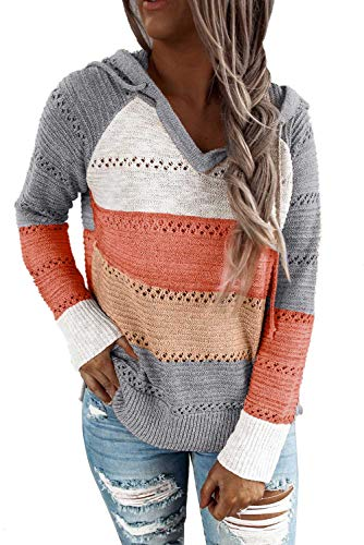 FEKOAFE Women's Lightweight Color Block Hooded Sweaters Knit Pullover Hollow Out Sweatshirt Gray M