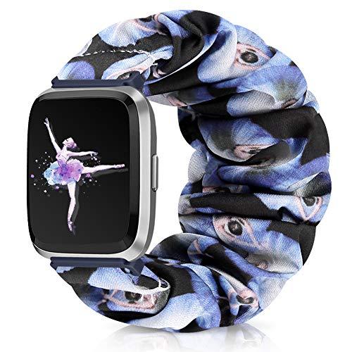 Runostrich Scrunchie Elastic Watch Band Women for Fitbit Versa/Versa 2/Versa Lite/SE, Floral Breathable Replacement Strap Scrunchy Wristband Bracelet Accessories (I Ballet, L)