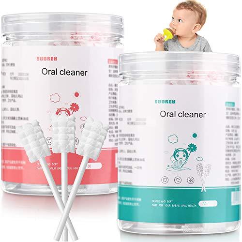 60 piezas de cepillo de dientes de bebé cepillo de dientes bebé limpiador de lengua recién nacido cepillo de dientes limpiador de lengua cuidado dental para bebés de 0 a 36 meses