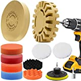 Car Decal Adhesive Removal Tool Set, VONDERSO 4 Inch Eraser Wheel Sticker Remover with Sponge Polishing Pads, Wool Buffing Pad and Plastic Razor Blades, 13 Pieces