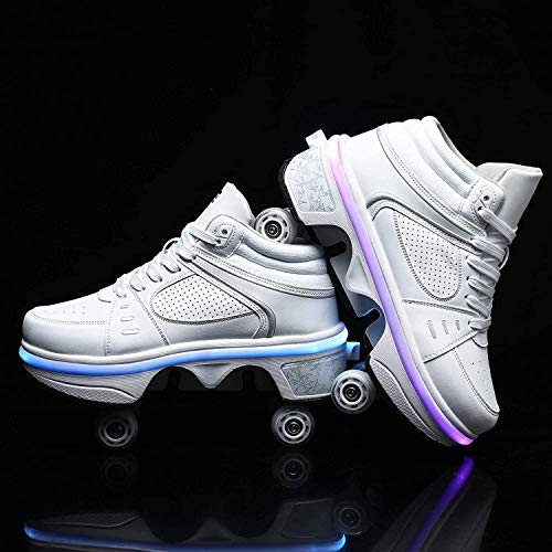 Schuhe Mit Rollen Led Schuhe Rollschuhe Mädchen Frauen Turnschuhe Einstellbarer Inline-Skate Skateboardschuhe Sportschuhe,White high top-EU37