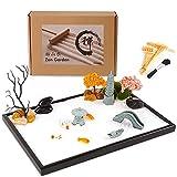 zrsumar zen garden kit for desk - 13.8 × 9.5 inch - mini zen garden accessories with sandstone
