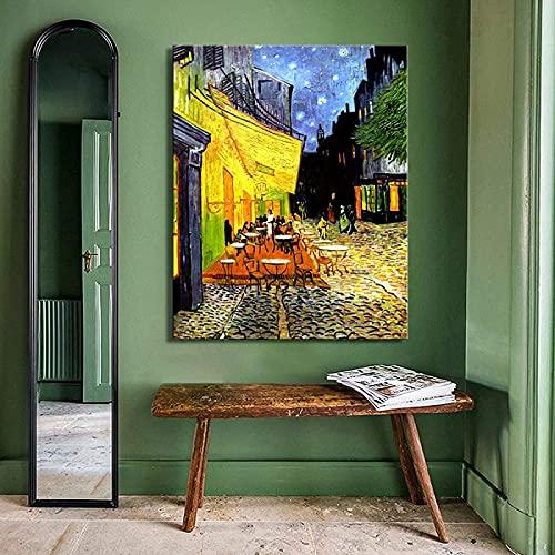 Impresión de lienzo 70x90 cm sin marco Van Gogh Poster Print Arte de la pared Pintura abstracta Decoración de la sala de estar en Forum Square Cafe Terrace