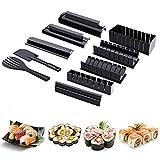 hengguang Kit De Preparación De Sushi - Incluye 8 Moldes con Forma De Sushi Y Tenedor De Espátula - Kit De Fabricación De Sushi De Plástico para El Hogar DIY - para Principiantes Negro
