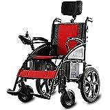 AOLI Silla de ruedas eléctrica silla de ruedas eléctrica plegable, plegable eléctrico pequeño Mobile Assisted silla de ruedas, silla de ruedas de gran alcance con dos motores, Silla de ruedas plegabl