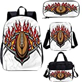17' Teens Backpack Set,Blazing Ball Flames Graphic School Bags Set for Work,School,Travel,Picnic