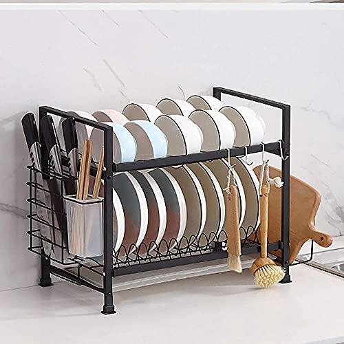 XKun Juego de cocina platos de almacenamiento drenaje hogar multifunción caja de almacenamiento estante 33 x 24,5 x 39 cm