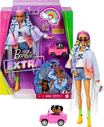 Barbie Extra Bambola con Giubbotto di Jeans, Cagnolino, Trecce Arcobaleno e Tanti Accessori, Giocattolo per Bambini 3+Anni,GRN29