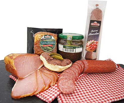 Wurstpaket Oberlausitz | Edel Salami & geräucherter Schinken am Stück | Blutwurst im Glas | verfügbar als Geschenk (Blutwurst)