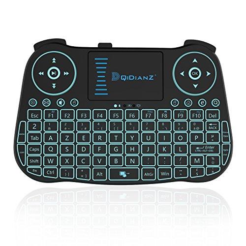 DQiDianZ(AZERTY)Mini Clavier sans Fil 2.4G rétro-éclairé Touchpad Clavier gamer de souris wireless pour Multimédia Android Smart TV Box PC-Noir-Version français