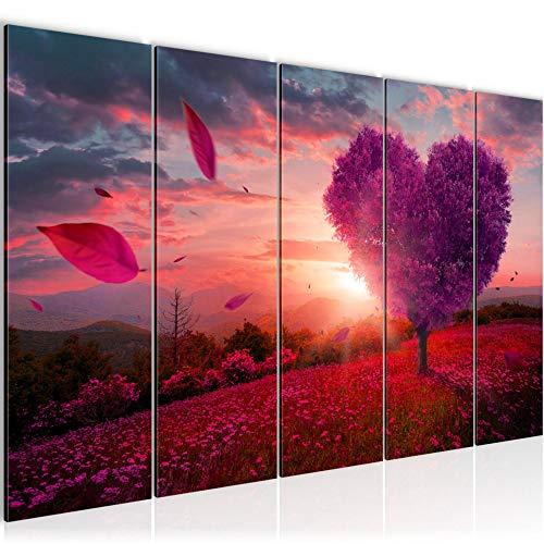 Bilder Herbst Baum Herz Wandbild 200 x 80 cm Vlies - Leinwand Bild XXL Format Wandbilder Wohnzimmer Wohnung Deko Kunstdrucke Violett 5 Teilig - MADE IN GERMANY - Fertig zum Aufhängen 605855b