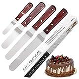 Set di 4 spatole angolate per decorare torte in acciaio inox professionale per decorare torte e torte, 10,2 - 15,2 - 20,3 - 25,4 cm, manico in legno per una facile presa
