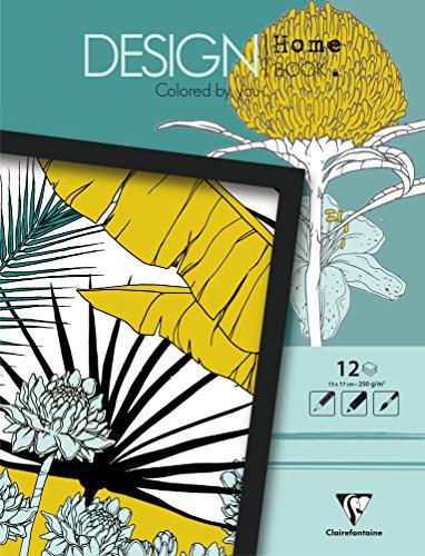 Clairefontaine 97445C - Un bloc de 12 feuilles de dessin prêt à colorier au format mini 13x17 cm, Design Home Book Plantes
