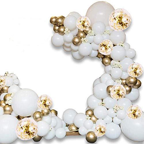 ATFUNSHOP Arche Ballon 5M - 120PCS Ballon Blanc et Or & Ballon Confettis pour Mariage Anniversaire...