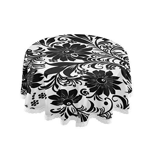 JUMBEAR Mantel redondo de poliéster con diseño de flores y hojas florales en blanco y negro, resistente al agua, a prueba de derrames, para comedor, cocina, fiesta, 60 pulgadas