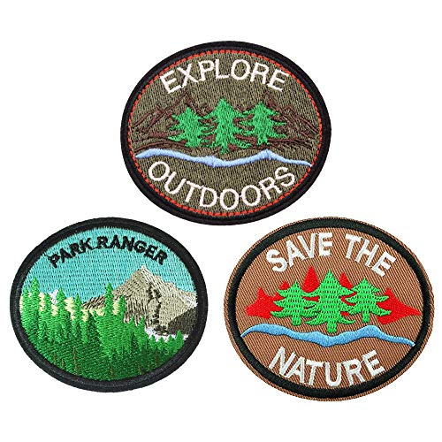 U-Sky Cool Park Forest Ranger Iron on Patches for Jackets, Explore Outdoors Save The Nature Embroidered Sew-on/ Iron-on Applique Adventure Tree Patches for Jeans, Backpack, 3pcs Different Design Pack