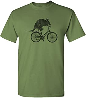Armadillo ON A Bicycle - Animal Meme Bike - Mens Cotton T-Shirt