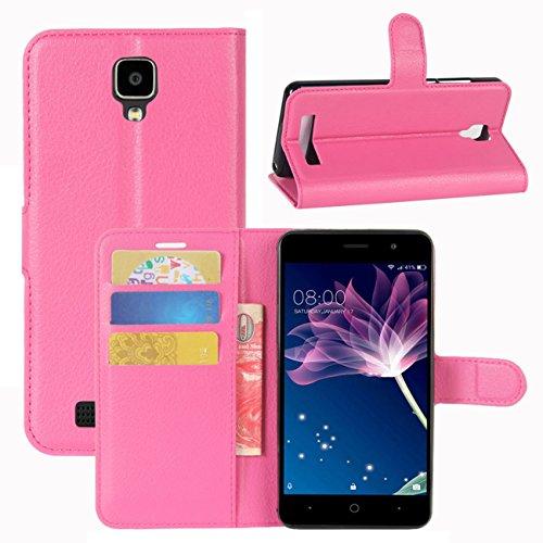 HualuBro Doogee X10 Hülle, [All Aro& Schutz] Premium PU Leder Leather Wallet HandyHülle Tasche Schutzhülle Flip Hülle Cover für Doogee X10 Smartphone (Rose)