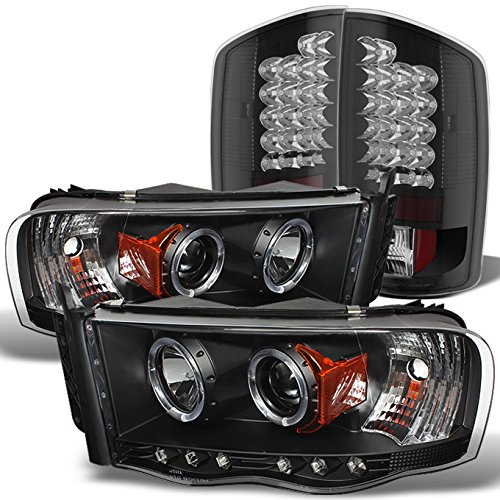 For Dodge Ram 1500 2500 3500 Black Dual Halo Projector Headlights + Black LED Perform Tail Lamps Combo