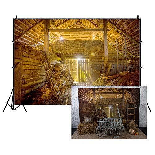Leowefowa 3x2m Vinilo Granja Telon de Fondo Granja Granero Tablones de Madera Herramientas de Trabajo Paja Cielo Soleado Fondos para Fotografia Party Infantil Photo Studio Props Photo Booth