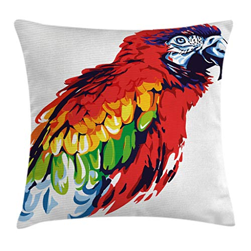 Ambesonne Animal Throw Pillow Cushion Cover, Exotic Parrot Bird in Vibrant Tones Wildlife Tropical Wings Illustration, Decorative Square Accent Pillow Case, 16
