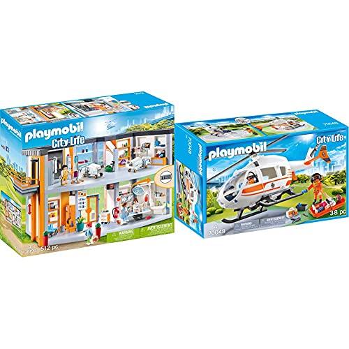 Playmobil City Life: Gran Hospital Set Juguetes, Multicolor, Talla Única (70190) + City Life Helicóptero De Rescate, Multicolor (70048)