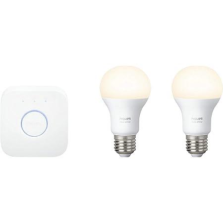 Philips Hue White - Set de inicio 2 bombillas LED E27 (2 x 9.5 W, (puente incluido), iluminación inteligente - luz blanca cálida regulable, compatible con Apple Homekit y Google Home)
