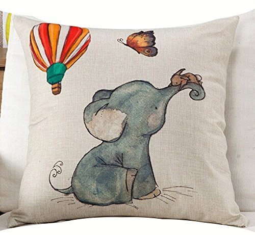 Queens designer Cotton Linen Square Decorative Throw Pillow Case Cushion Cover Watercolor Elephant Baby Hot Air Balloon Yellow Little Mouse 18X18