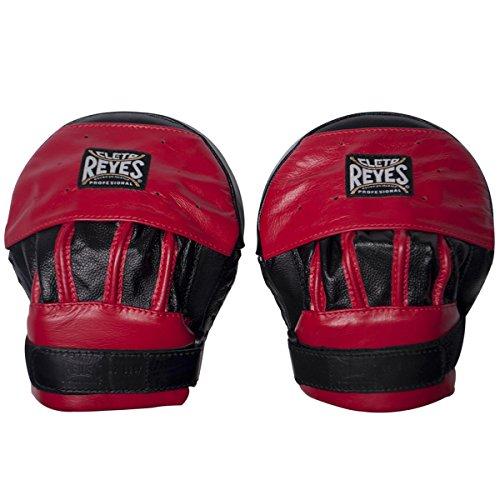 CLETO REYES Boxhandschuhe aus Leder, gebogen – Schwarz/Rot