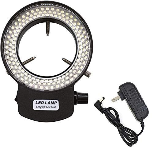 Micrl Microscope Ring Light 2.56' ID Adjustable 144 LED Illuminator for Stereo Microscope & Camera (Black)