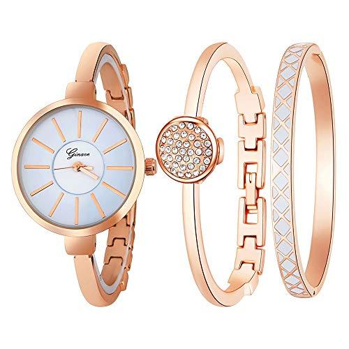 UINGKID Damen Armbanduhr Analog Quarz 3 STÜCKE Frauen Edelstahl Armband Band Analoge Quarz -runde Uhren
