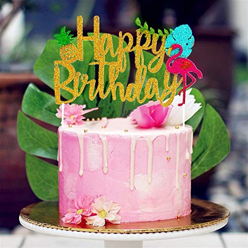 Marvelous Jevenis Glitter Flamingo Happy Birthday Cake Toppers Pineapple Funny Birthday Cards Online Bapapcheapnameinfo