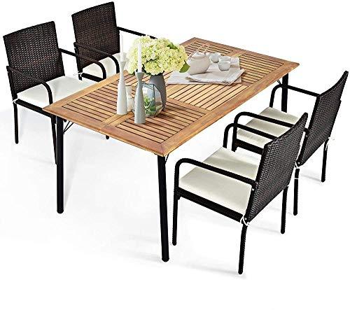 YRRA 5 Stück Terrasse Speisesatz Acacia Holz- und Weidenmöbel Set mit 2,16'Regenschirmloch Outdoor Esstisch und 4 Rattan-Sessel mit abnehmbaren Kissen
