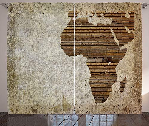 ABAKUHAUS afrikanisch Rustikaler Vorhang, Hölzerne Planke Karte, Wohnzimmer Universalband Gardinen mit Schlaufen und Haken, 280 x 245 cm, Tan Braun