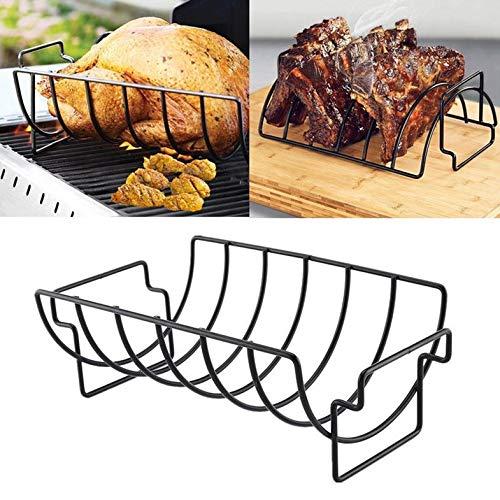 Home Restaurant Rippchenständer Antihaft-Grill im Freien Grill Huhn Rindfleisch Lammkotelett Rippenständer Bratenständer Steakhalter - Schwarz