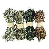 40M Cuerda Trenzada de Cáñamo Natural, NogaMoga Hilo Yute y Cinta con Hoja Verdes Artificial, 4 Color Cuerda Arpillera para Guirnalda de Flores Decoración, Jardinería, Boda, Fiesta