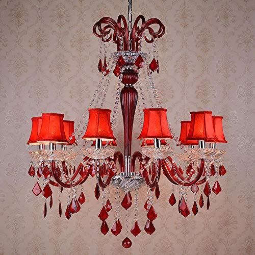Roter Kristall-Kronleuchter Schlafzimmer Lampe Hochzeitssaal Hochzeit Raum dekorative Kerzen Restaurant Kaffeekanne Shop Man Kronleuchter, 8 Durchmesser 750mm, mit Schatten
