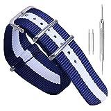 16 millimetri blu/bianco/blu scuro delicato stile dark nylon esotico cinghia della fascia donna orologio da polso di sport