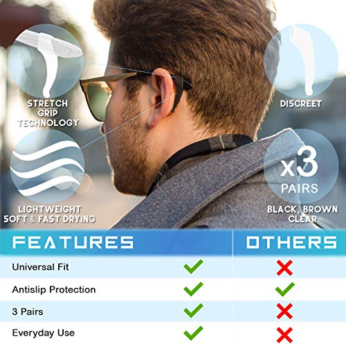 Anti-Slip Glasses Ear Hook Grip - 3 Pack - Stretchy Fit for Sunglasses and Glasses (Tricolour)