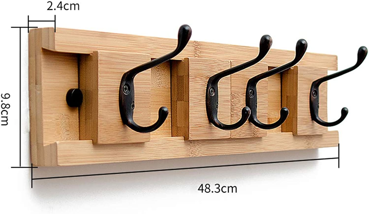 HHXD Household Wall Mounted Bamboo Coat Hook Coat rack Bedroom It Can Move Green Environmental Predection Hooks Strong Durable Moisture Proof A   48.3  9.8  2.4 cm