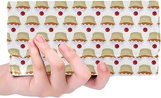 Unique Custom Muffin Food Cake Cherry Bakery Sugar Cupcake Women Trifold Wallet Long Purse Credit Card Holder Case Handbag