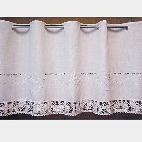 Scheibengardine 60x145 cm aus schöner Landhaus Serie Stickerei mit Häkelspitze in weiß 100% Bistrogardine gehäkelt & Bestickt Country Chic Gardine Typ368