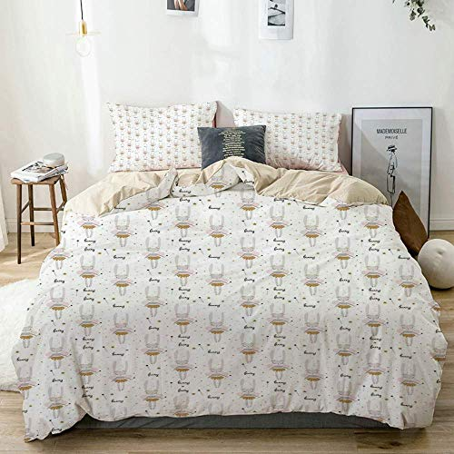 788 DRIVICO Duvet Cover Sets Beige,Cartoon Figures of Dancer Bunny with Starry Wands,Decorative 3 Piece Bedding Set with 2 Pillow Shams