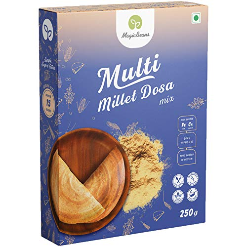 MagicBeans Multi Millet Dosa Mix Freeze Dried Gluten-Free Gourmet Instant Food Ready-to-Eat Vegetarian Indian Cuisine Breakfast/Lunch/Dinner/Snack Meal/No Artificial Colors, Flavors